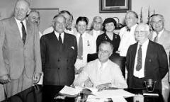 President Roosevelt signing Social Security Act, August 14, 1935