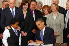 President Obama signing Affordable Care Act, March 2010